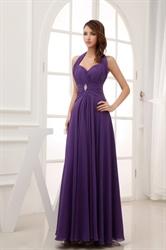 Purple Prom Dresses Long 2016,Purple Halter Neck Top Dress