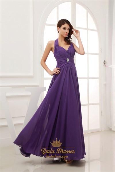Purple Prom Dresses Long 2021,Purple Halter Neck Top Dress
