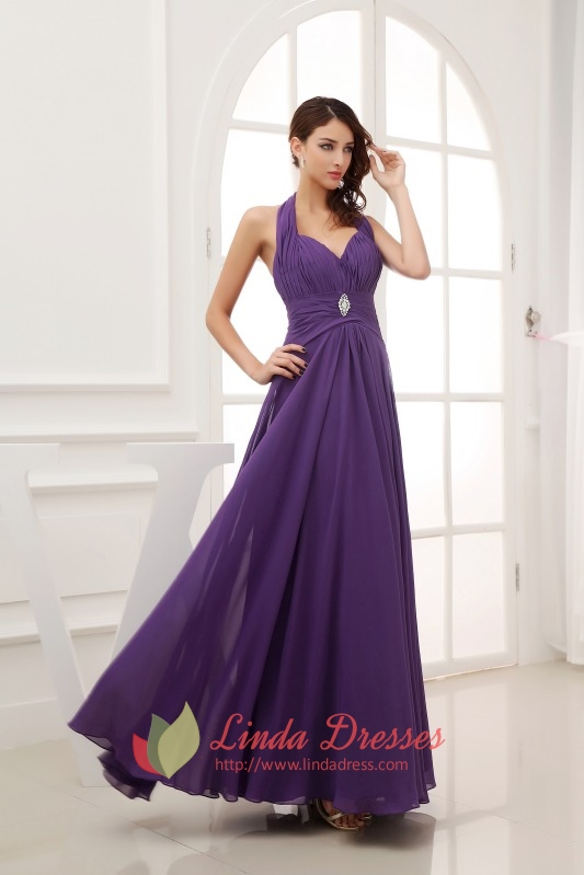 purple prom dresses long 2016 purple halter neck top dress
