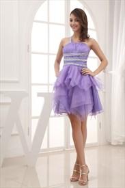 Open Back Cocktail Dress,Lilac One Shoulder Cocktail Dresses With Open Back