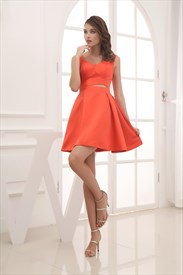 Coral Short Bridesmaid Dresses,Little Coral Skating Dresses