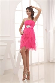 Pink Short Puffy Prom Dresses 2019,Pink One Shoulder Cocktail Dress