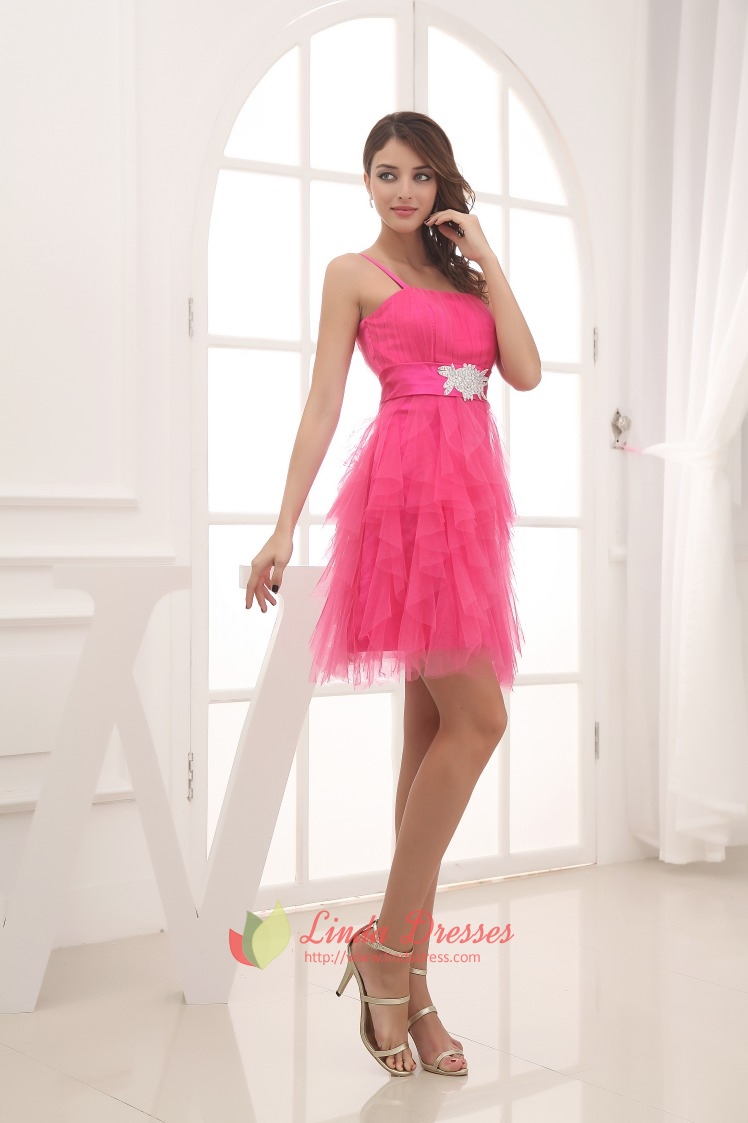pink short puffy prom dresses 2016pink one shoulder
