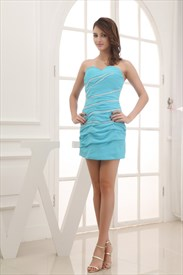 Aqua Blue Dresses For Juniors,Blue Strapless Mini Dress