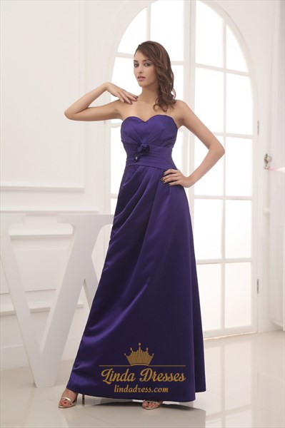 Dark Purple Bridesmaid Dresses Long,Purple Bridesmaid Dresses With Purple Flowers