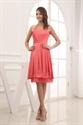 Show details for Simple Coral Halter Neck Dress,Cheap Coral Bridesmaid Dresses Under 100