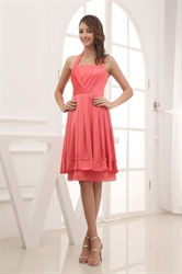 Simple Coral Halter Neck Dress,Cheap Coral Bridesmaid Dresses Under 100