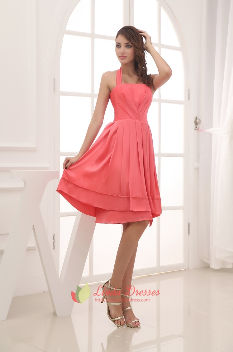 Simple Coral Halter Neck Dress,Cheap Coral Bridesmaid Dresses ...