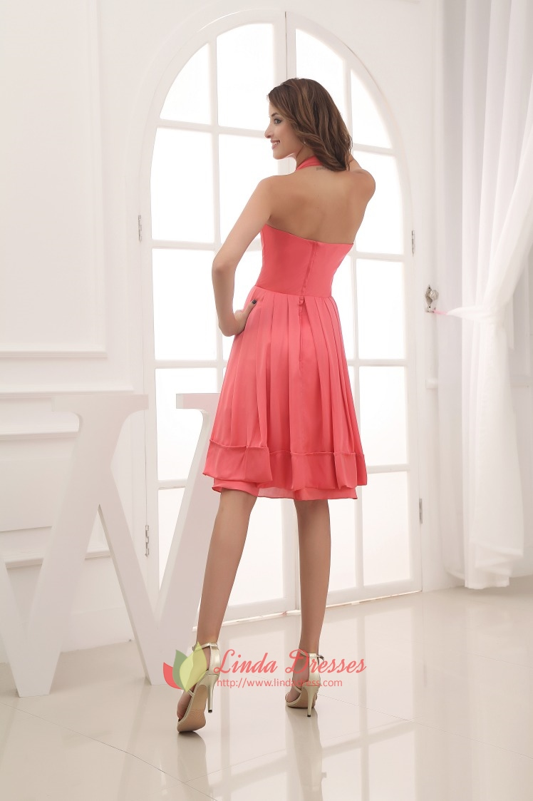 Simple Coral Halter Neck Dress,Cheap Coral Bridesmaid Dresses Under ...