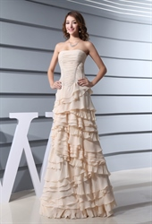 Champagne Ruffle Dress,Cute Ruffle Dresses For Women Prom