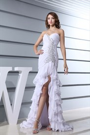 White High Low Prom Dresses 2019,White Prom Dresses With Open Back