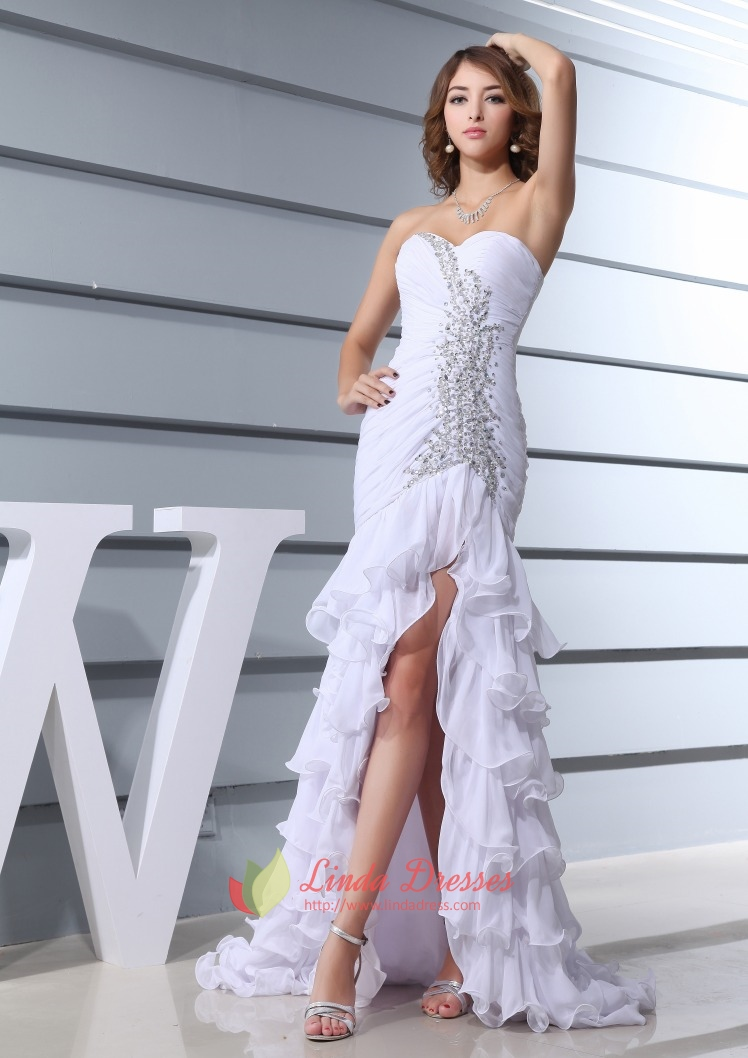 White High Low Prom Dresses 2016,White Prom Dresses With Open Back ...