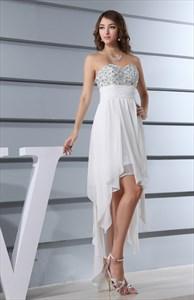 White High Low Dresses For Juniors,White Flowy Dress For Beach Sumer