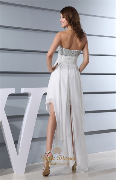 White High Low Dresses For Juniors,White Flowy Dress For Beach Sumer