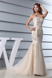 Mermaid Wedding Dress With Bling Long Train Tulle Bottom,Champagne Mermaid Wedding Dresses