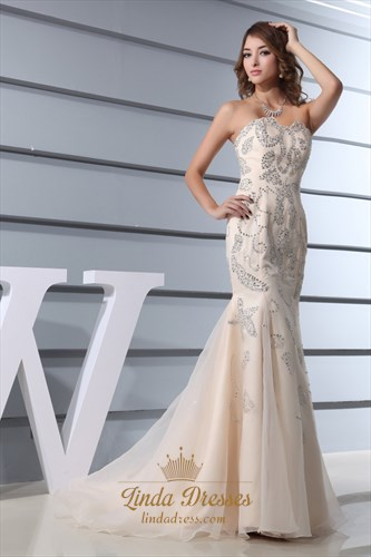 Mermaid Wedding Dress With Bling Long Train Tulle Bottom,Champagne Mermaid Wedding Dresses