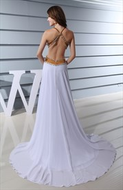 White Open Back Halter Dress,Long Open Back Prom Dresses With Sides Slits Cut Out
