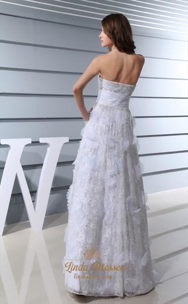 Organza Ruffle Sweetheart Neckline Wedding Dress,Wedding Dresses With Beaded Bodice And Beautiful Back Detail