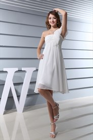 Draped One Shoulder Chiffon Shift Dress,White One Shoulder Dress Short