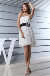 White Chiffon Pleated Dress,Short White Pleated Dress With Black Belt For Bachelorette Party