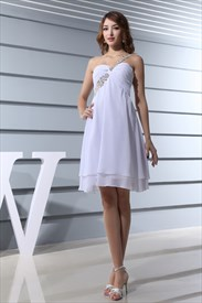 White One Shoulder Cocktail Dress,One Shoulder Cocktail Dress With Cross Back