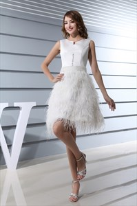 Knee Length Cocktail Dresses With Sleeves,Feather Bottom Cocktail Dress