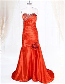 Red Sweetheart Prom Dress With Beaded Bodice,Long Red Prom Dresses UK 2019