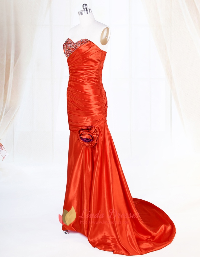 Red Sweetheart Prom Dress With Beaded Bodice,Long Red Prom Dresses ...