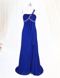 Royal Blue One Shoulder Prom Dress,Royal Blue Dresses For Women