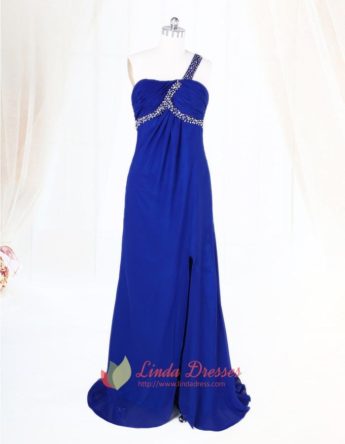 Royal Blue One Shoulder Prom Dress,Royal Blue Dresses For Women ...