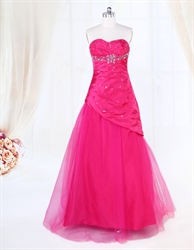 Hot Pink Sequin Tulle Ball Gown Prom Dresses,Strapless Tulle Ball Gown Dress Cheap