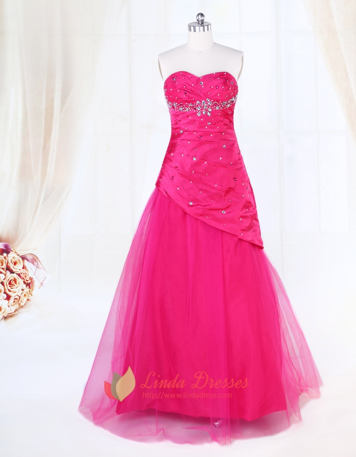 Hot Pink Sequin Tulle Ball Gown Prom Dresses,Strapless Tulle Ball ...