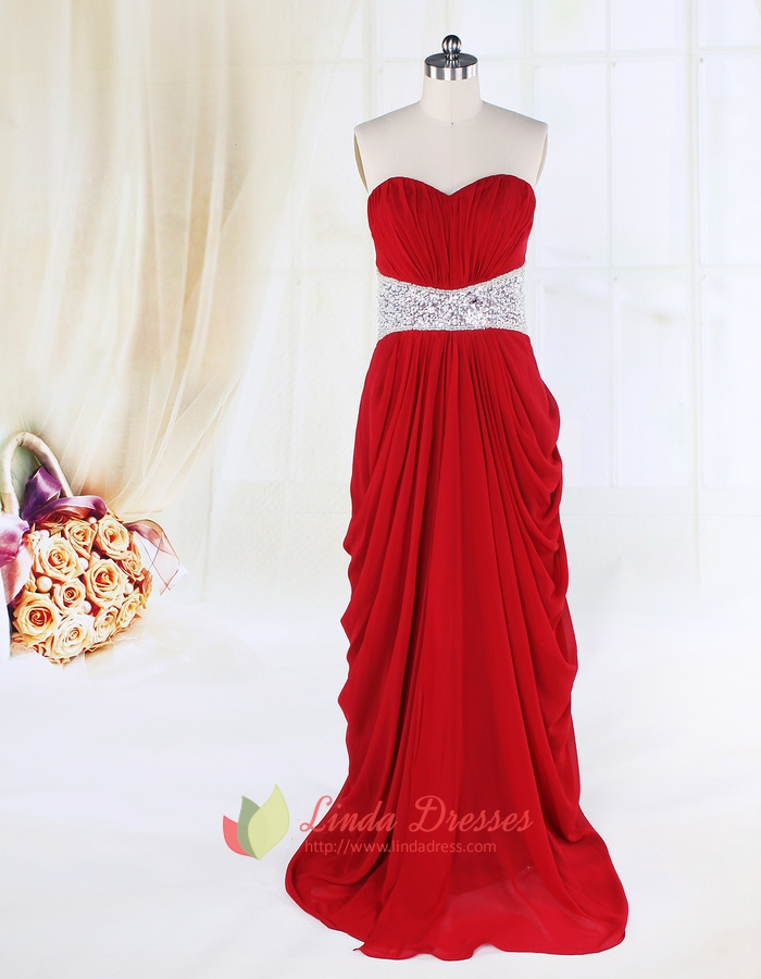 Side Draped Red Prom Dresses Open Backlong Red Evening Gown Cheap