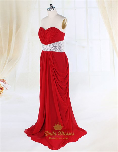 Side Draped Red Prom Dresses Open Back,Long Red Evening Gown Cheap