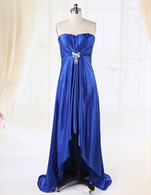 Blue High Low Prom Dress,Blue High Low Bridesmaid Dresses