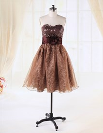 Cocktail Dresses With Sparkles On Top,Chocolate Brown Cocktail Dress