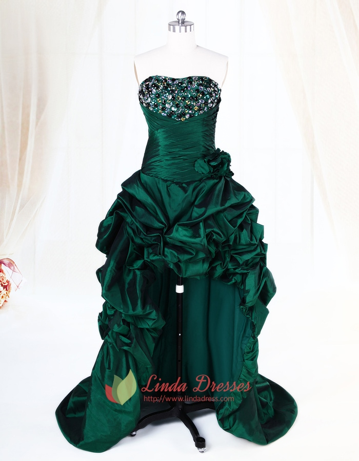 Dark Green High Low Dress With Crystal Stones embellishments,Emerald Green High Low Dress