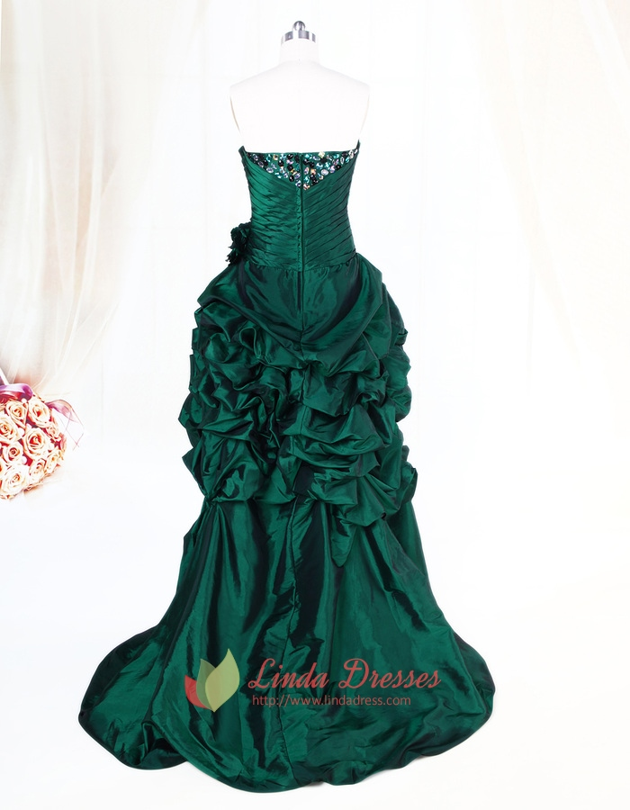 Dark Green High Low Dress With Crystal Stones Embellishments,Emerald ...