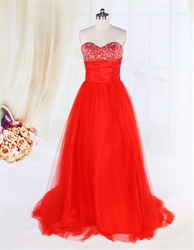 Red Tulle Ball Gown Prom Dresses UK,Red Ball Gown Dresses With Sequin Top