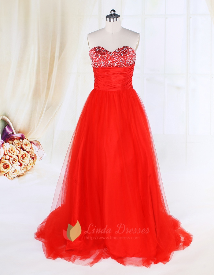Red Tulle Ball Gown Prom Dresses UK,Red Ball Gown Dresses With ...