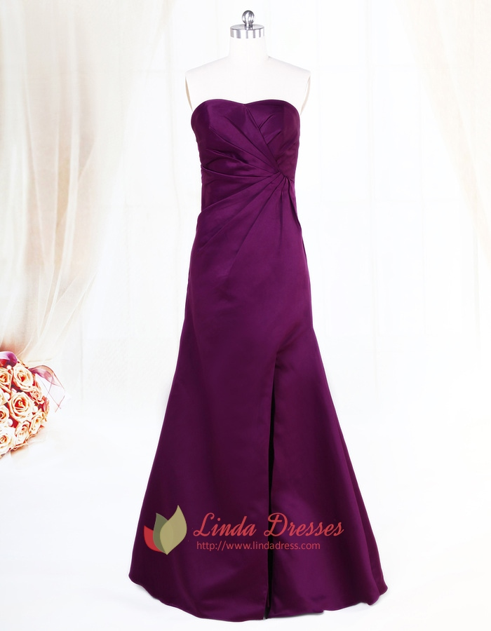 Dark Purple Strapless Bridesmaid Dresses Long,Plum Eggplant ...