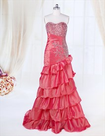 Long Flowy Formal Dresses With Sparkles At The Top,Coral Prom Dresses Long