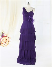 Dark Purple Mother Of The Bride Dresses,Long Purple Flowy Prom Dresses
