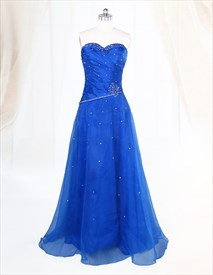 Blue Sweetheart Neckline Prom Dress,Royal Blue Prom Dresses Long 2019