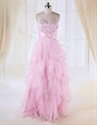 Show details for Single Piece Dress For Women Online,Light Pink Ruffle Prom Dress 2021
