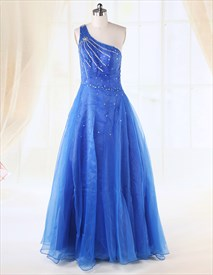 Strapless Tulle Ball Gown,Blue One Shoulder Sequin Dress Long