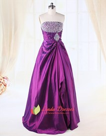 Purple Prom Dresses With Sparkles Top,Violet Ball Gown Prom Dresses