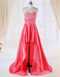 Coral High Low Prom Dresses 2016,High Low Dresses Casual Coral