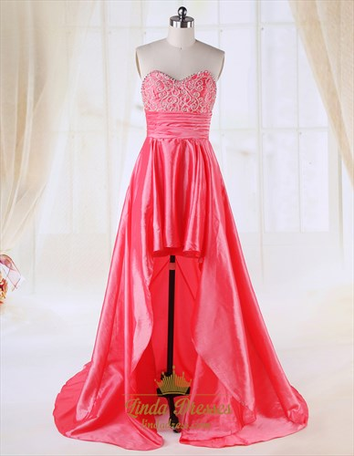 Coral High Low Prom Dresses 2021,High Low Dresses Casual Coral