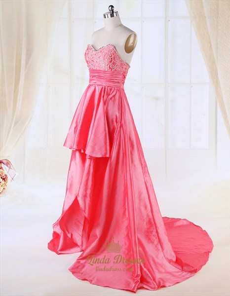 Coral High Low Prom Dresses 2019,High Low Dresses Casual Coral